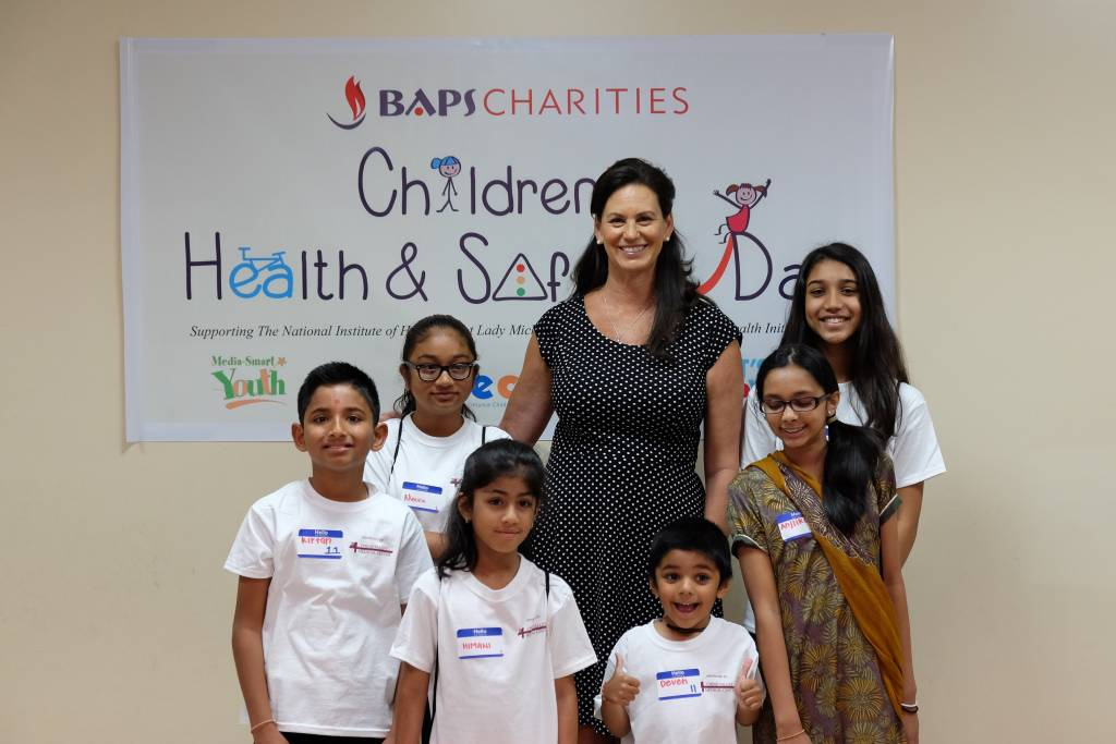 Chino Hills Mayor Cynthia Moran with Children's Health and Safety Day participants.
