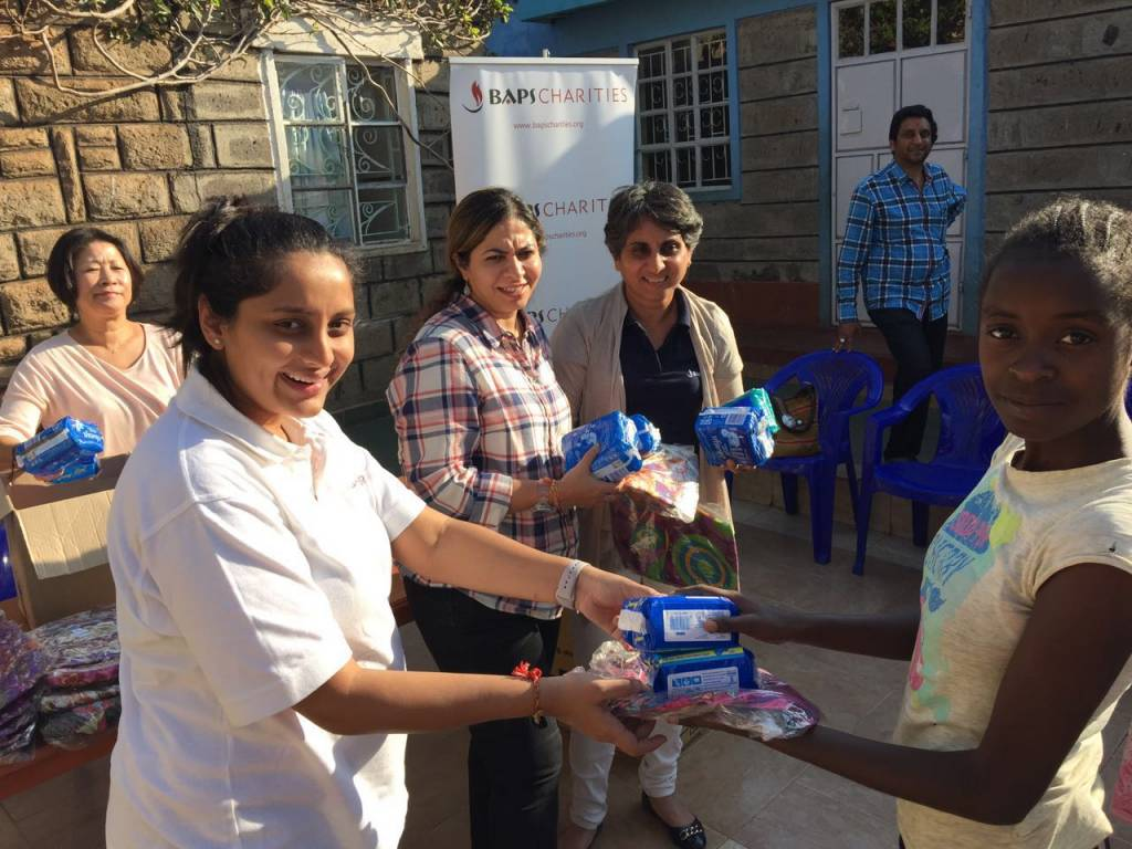 Donating feminine hygiene products to under privileged girls