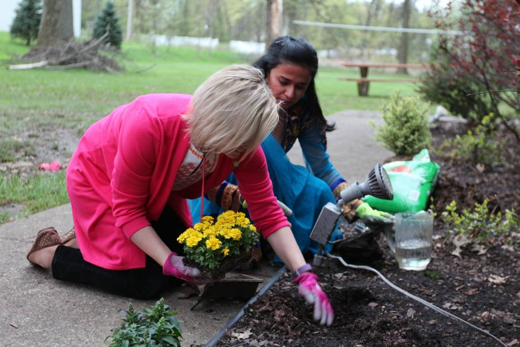 Senator Maria Collett (Senate District 12) participating in Earth Day activities