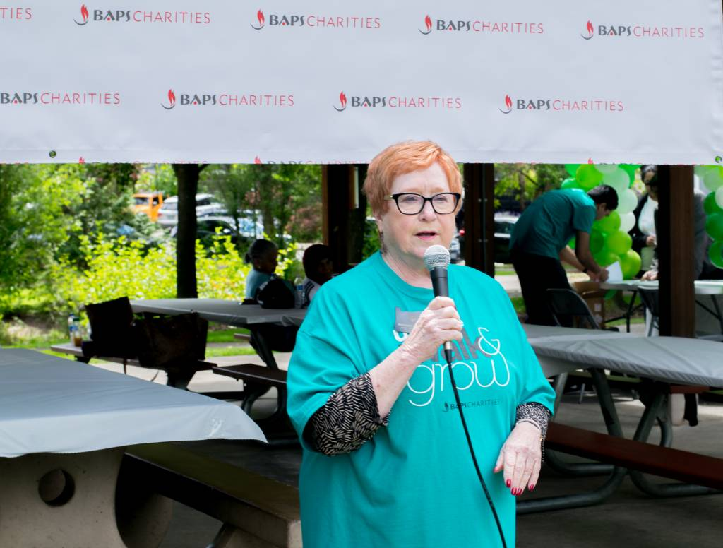 Oregon State Representative Margaret Doherty gives a speech to the walk participants.