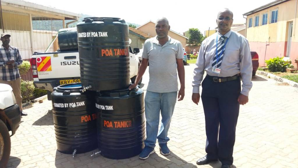 3 tanks of 230 litres to Machakos Country Health office